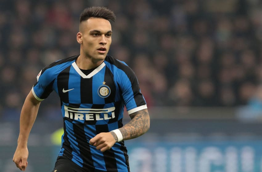 MILAN, ITALY - FEBRUARY 12: Lautaro Martinez of FC Internazionale looks on during the Coppa Italia Semi Final match between FC Internazionale and SSC Napoli at Stadio Giuseppe Meazza on February 12, 2020 in Milan, Italy. (Photo by Emilio Andreoli/Getty Images)