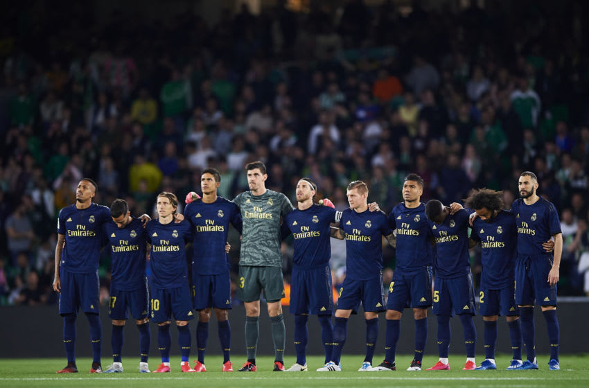 SEVILLE, SPAIN - MARCH 08: A silent minute prior to the Liga match between Real Betis Balompie and Real Madrid CF at Estadio Benito Villamarin on March 08, 2020 in Seville, Spain. (Photo by Silvestre Szpylma/Quality Sport Images/Getty Images)