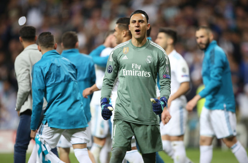 Goalkeeper Navas Keylor of Real Madrid celebrates victory after the UEFA Champions League Semi Final Second Leg match between Real Madrid and Bayern Muenchen at the Bernabeu on May 1, 2018 in Madrid, Spain. (Photo by Raddad Jebarah/NurPhoto via Getty Images)