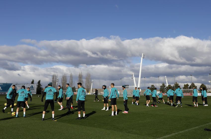 MADRID, SPAIN - JANUARY 26: A general view during a Real Madrid training session at Valdebebas training ground on January 26, 2018 in Madrid, Spain. (Photo by Angel Martinez/Real Madrid via Getty Images)