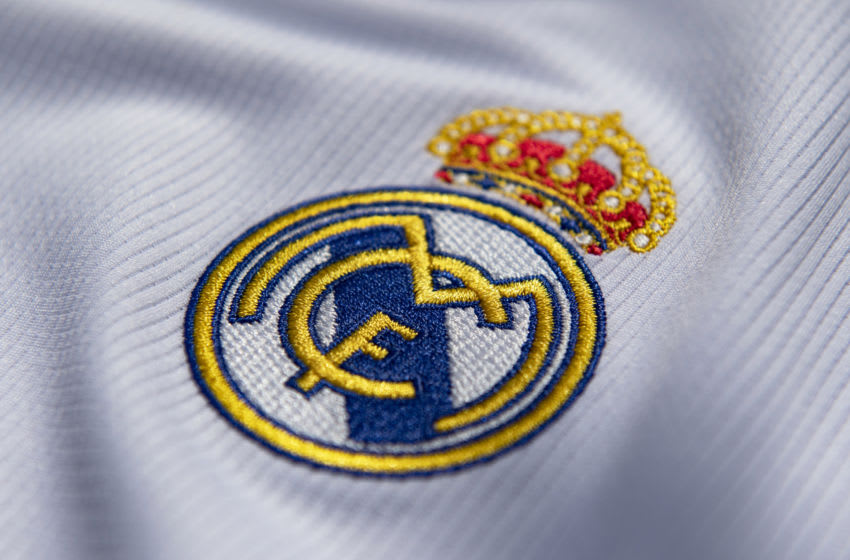 MANCHESTER, ENGLAND - JULY 19: The Real Madrid club crest on the first team home shirt on July 19, 2020 in Manchester, United Kingdom. (Photo by Visionhaus)