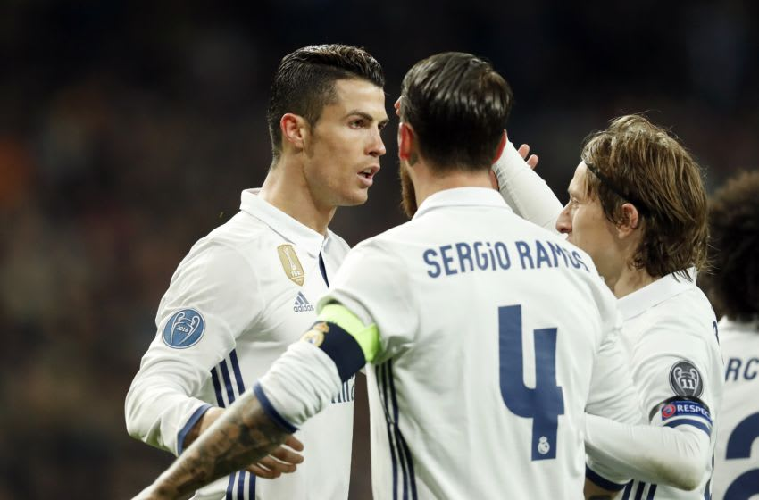 (L-R) Cristiano Ronaldo of Real Madrid, Sergio Ramos of Real Madrid, Marcelo of Real Madridduring the UEFA Champions League round of 16 match between Real Madrid and SSC Napoli on February 14, 2017 at the Santiago Bernabeu stadium in Madrid, Spain(Photo by VI Images via Getty Images)