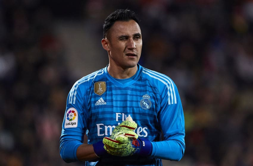 GIRONA, SPAIN - JANUARY 31: Keylor Navas of Real Madrid during the Copa del Rey second leg Quarter Final match between Girona FC and Real Madrid at Montilivi Stadium on January 31, 2019 in Girona, Spain. (Photo by Quality Sport Images/Getty Images)