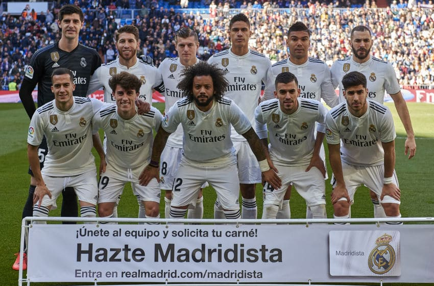 MADRID, SPAIN - FEBRUARY 17: Players of Real Madrid line up for a team photo prior to the La Liga match between Real Madrid CF and Girona FC at Estadio Santiago Bernabeu on February 17, 2019 in Madrid, Spain. (Photo by Quality Sport Images/Getty Images)