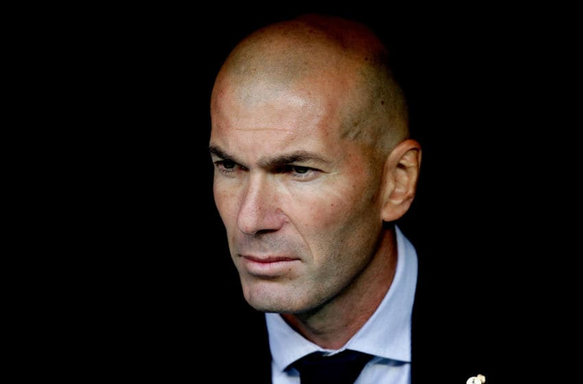 MADRID, SPAIN - OCTOBER 1: coach Zinedine Zidane of Real Madrid during the UEFA Champions League match between Real Madrid v Club Brugge at the Santiago Bernabeu on October 1, 2019 in Madrid Spain (Photo by David S. Bustamante/Soccrates/Getty Images)