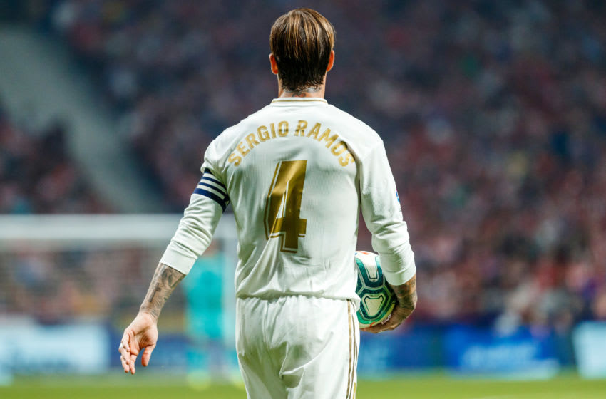 MADRID, SPAIN - SEPTEMBER 28: Sergio Ramos of Real Madrid looks on during the Liga match between Club Atletico de Madrid and Real Madrid CF at Wanda Metropolitano on September 28, 2019 in Madrid, Spain. (Photo by TF-Images/Getty Images)