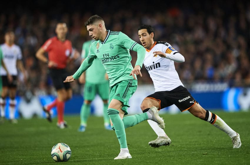 VALENCIA, SPAIN - DECEMBER 15: Federico Valverde of Real Madrid CF runs with the ball during the Liga match between Valencia CF and Real Madrid CF at Estadio Mestalla on December 15, 2019 in Valencia, Spain. (Photo by Quality Sport Images/Getty Images)