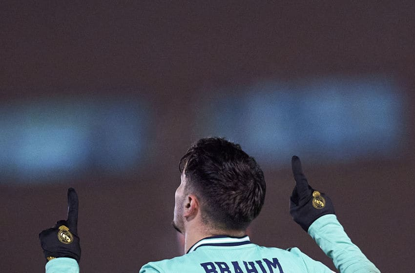SALAMANCA, SPAIN - JANUARY 22: Brahim Diaz of Real Madrid CF celebrates after scoring his team's third goal during the Copa del Rey round of 32 match between Unionistas CF and Real Madrid CF at stadium of Las Pistas on January 22, 2020 in Salamanca, Spain. (Photo by Quality Sport Images/Getty Images)