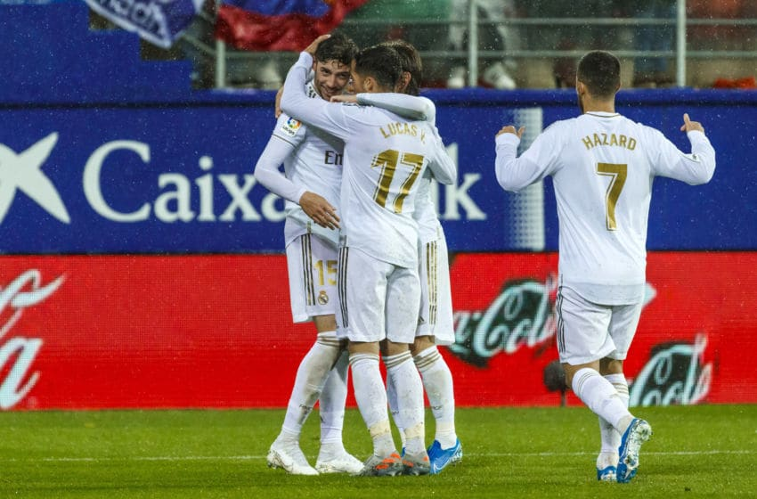 EIBAR, SPAIN - NOVEMBER 09: Federico Valverde of Real Madrid celebrates his goal with team mates during the Liga match between SD Eibar SAD and Real Madrid CF at Ipurua Municipal Stadium on November 9, 2019 in Eibar, Spain. (Photo by TF-Images/Getty Images)