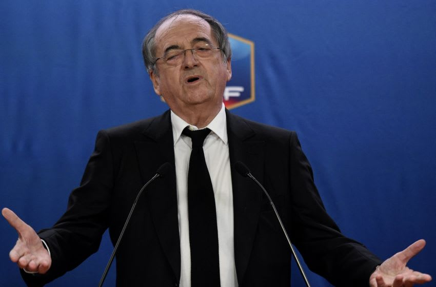 President of the French Football Federation (FFF), Noel Le Graet gestures as he speaks during a press conference at the FFF headquarters in Paris on December 10, 2015. The French Football Federation indefinitely suspended on December 10 star striker Karim Benzema because of criminal charges of involvement in a sex-tape blackmail attempt against teammate Mathieu Valbuena. The suspension would include the 2016 European Championship to be held in France, unless the case was settled. Karim Benzema put under investigation in the affair of blackmail of sex tape exercised his teammate Mathieu Valbuena is put aside for France team. / AFP / FRANCK FIFE (Photo credit should read FRANCK FIFE/AFP via Getty Images)