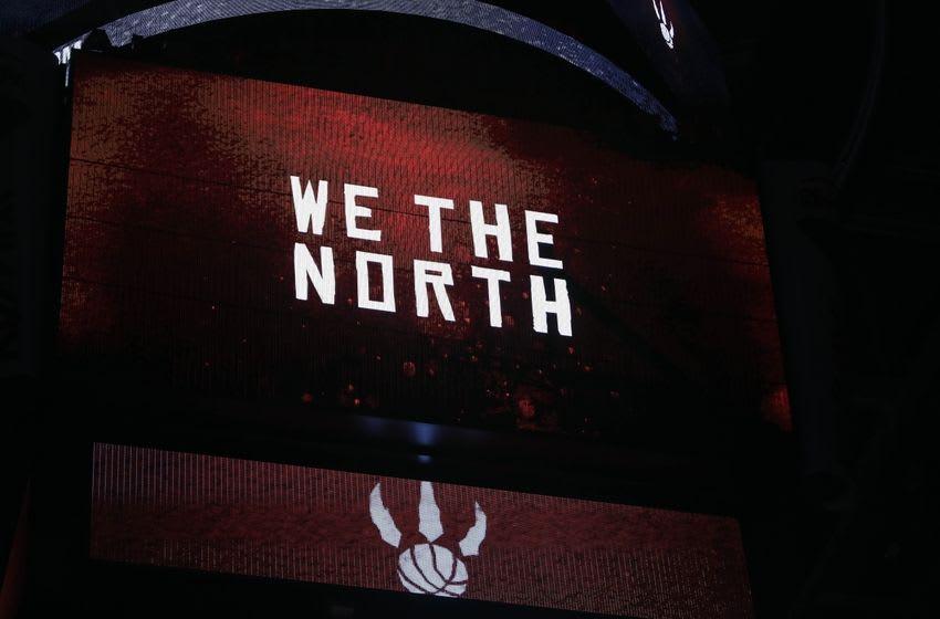 Nov 9, 2014; Toronto, Ontario, CAN; Toronto Raptors logo on the scoreboard to start the game against the Philadelphia 76ers at the Air Canada Centre. Mandatory Credit: John E. Sokolowski-USA TODAY Sports