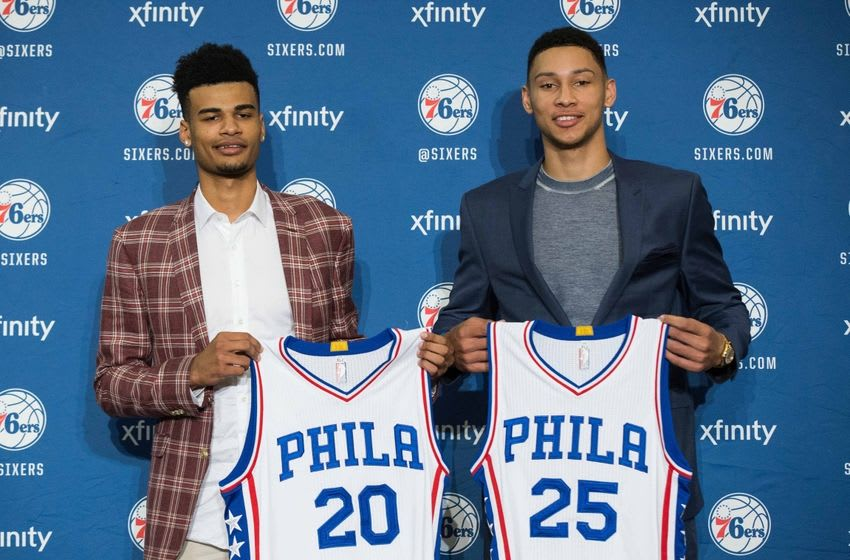 Jun 24, 2016; Philadelphia, PA, USA; Philadelphia 76ers number one overall draft pick Ben Simmons (25) and number twenty-fourth overall draft pick Timothe Luwawu-Cabarrot (20) pose for a photo at a press conference at the Philadelphia College Of Osteopathic Medicine. Mandatory Credit: Bill Streicher-USA TODAY Sports