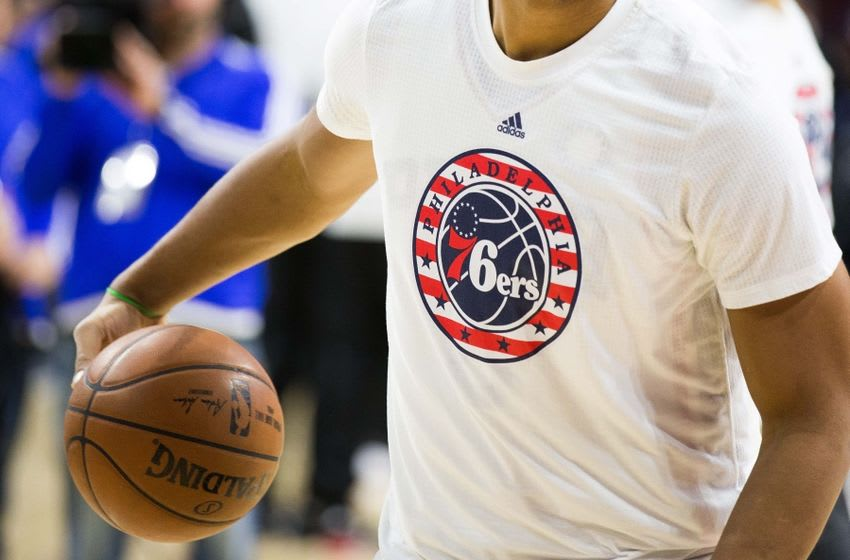 Nov 9, 2015; Philadelphia, PA, USA; The Philadelphia 76ers logo on the warm up shirt of center Jahlil Okafor (not pictured) prior to action against the Chicago Bulls at Wells Fargo Center. The Bulls won 111-88. Mandatory Credit: Bill Streicher-USA TODAY Sports
