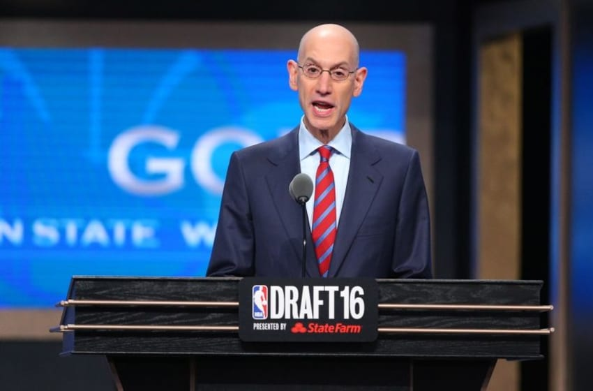 Jun 23, 2016; New York, NY, USA; NBA commissioner Adam Silver speaks at the conclusion of the first round of the 2016 NBA Draft at Barclays Center. Mandatory Credit: Jerry Lai-USA TODAY Sports