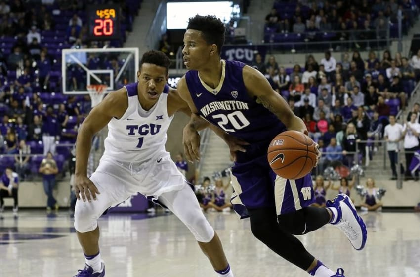 Nov 30, 2016; Fort Worth, TX, USA; Washington Huskies guard Markelle Fultz (20) dribbles on TCU Horned Frogs guard Desmond Bane (1) during the first half at Ed and Rae Schollmaier Arena. Mandatory Credit: Ray Carlin-USA TODAY Sports