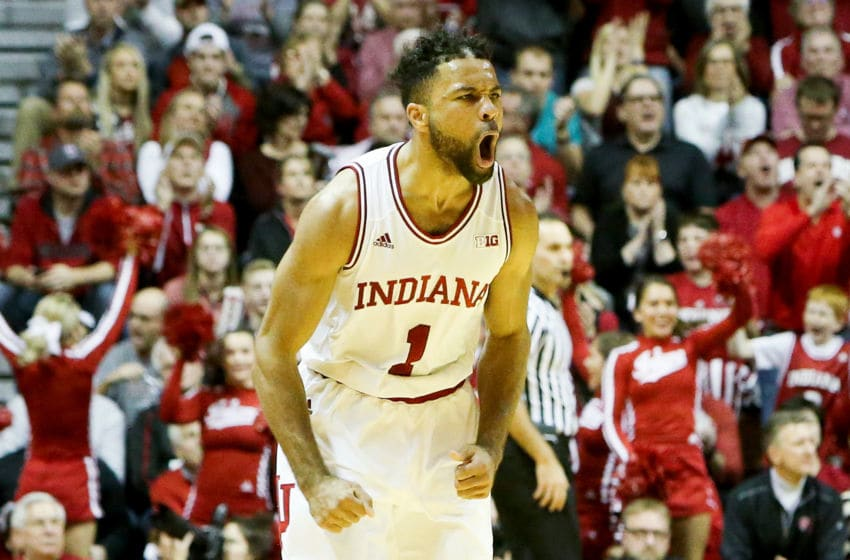 BLOOMINGTON, IN - DECEMBER 28: James Blackmon Jr. #1 of the Indiana Hoosiers reacts in the second half against the Nebraska Cornhuskers at Assembly Hall on December 28, 2016 in Bloomington, Indiana. (Photo by Dylan Buell/Getty Images)