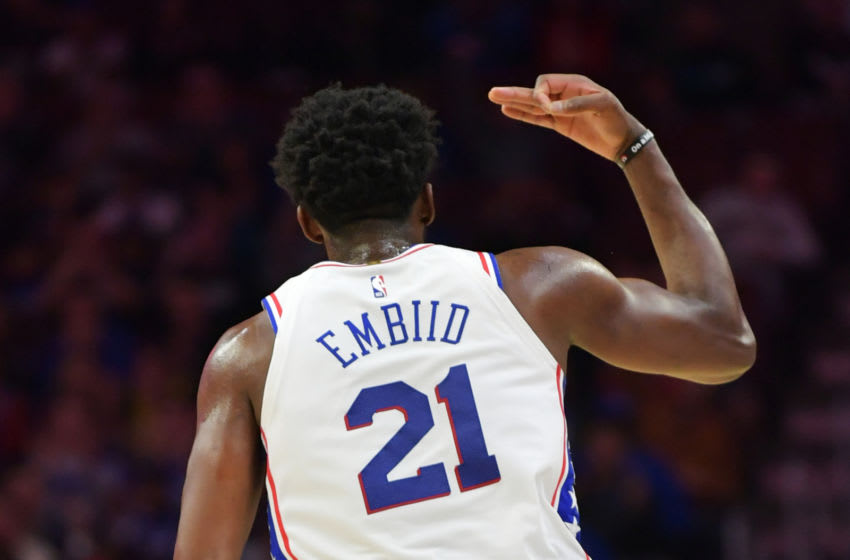 PHILADELPHIA, PA - OCTOBER 20: Joel Embiid #21 of the Philadelphia 76ers celebrates a three point shot against the Orlando Magic at Wells Fargo Center on October 20, 2018 in Philadelphia, Pennsylvania. (Photo by Drew Hallowell/Getty Images)