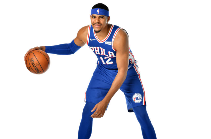 CAMDEN, NJ - JULY 12: Tobias Harris #12 of the Philadelphia 76ers poses for a portrait on July 12, 2019 at the Philadelphia 76ers Training Complex in Camden, New Jersey. NOTE TO USER: User expressly acknowledges and agrees that, by downloading and/or using this photograph, user is consenting to the terms and conditions of the Getty Images License Agreement. Mandatory Copyright Notice: Copyright 2019 NBAE (Photo by Jesse D. Garrabrant/NBAE via Getty Images)