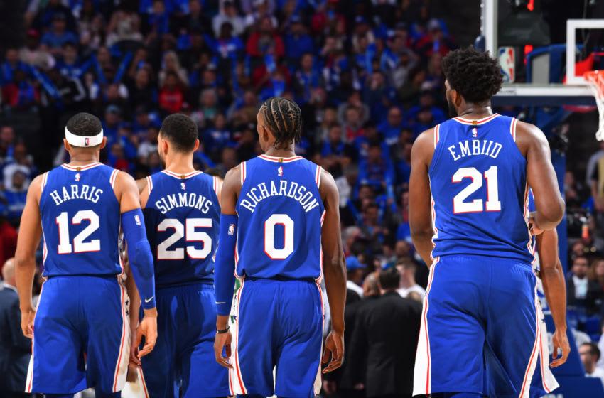 Tobias Harris, Ben Simmons, Josh Richardson, Joel Embiid | Philadelphia 76ers (Photo by Jesse D. Garrabrant/NBAE via Getty Images)