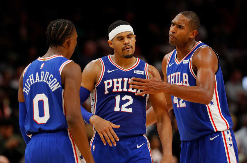 Josh Richardson, Tobias Harris, Al Horford | Philadelphia 76ers (Photo by Kevin C. Cox/Getty Images)