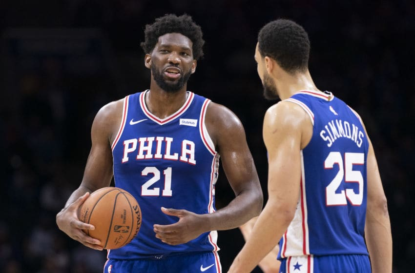 Philadelphia 76ers, Joel Embiid and Ben Simmons (Photo by Mitchell Leff/Getty Images)