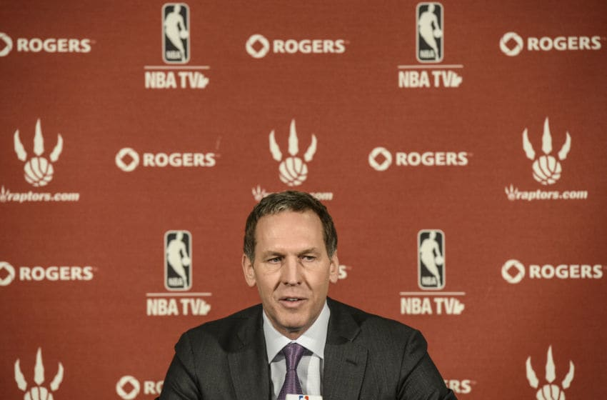 TORONTO, ON - APRIL 22: Raptors GM Bryan Colangelo speaks during the season-ending media conference Monday April 22, 2013 at the Air Canada Centre. (Tara Walton/Toronto Star via Getty Images)