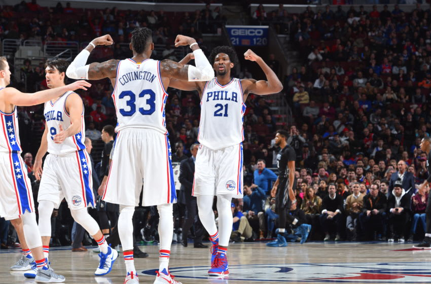 PHILADELPHIA,PA - JANUARY 3 : Robert Covington #33 and Joel Embiid #21 of the Philadelphia 76ers are pumped up against Minnesota Timberwolves during game at the Wells Fargo Center on January 3, 2017 in Philadelphia, Pennsylvania NOTE TO USER: User expressly acknowledges and agrees that, by downloading and/or using this Photograph, user is consenting to the terms and conditions of the Getty Images License Agreement. Mandatory Copyright Notice: Copyright 2017 NBAE (Photo by Jesse D. Garrabrant/NBAE via Getty Images)