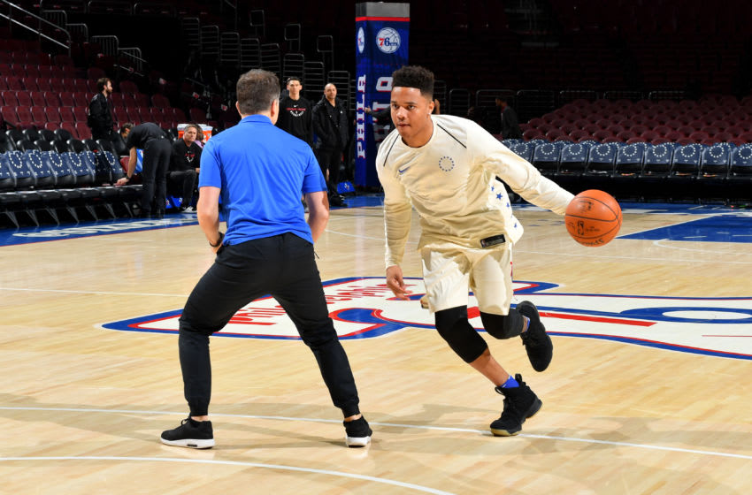 PHILADELPHIA, PA - FEBRUARY 2: Markelle Fultz #20 of the Philadelphia 76ers warms up prior to the game against the Miami Heat on February 2, 2018 in Philadelphia, Pennsylvania NOTE TO USER: User expressly acknowledges and agrees that, by downloading and/or using this Photograph, user is consenting to the terms and conditions of the Getty Images License Agreement. Mandatory Copyright Notice: Copyright 2018 NBAE (Photo by Jesse D. Garrabrant/NBAE via Getty Images)