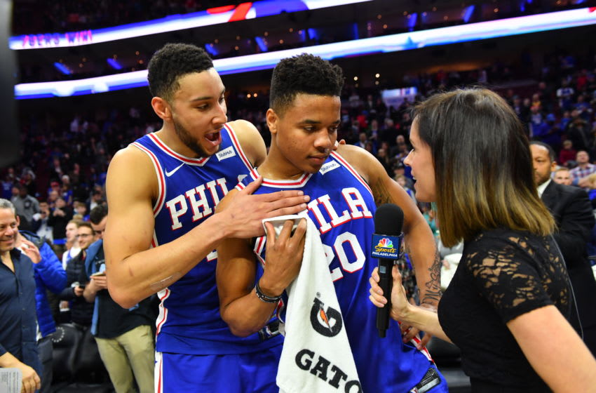 PHILADELPHIA,PA - MARCH 26 : Markelle Fultz #20 of the Philadelphia 76ers is interviewed with Ben Simmons #21 after the win against the Denver Nuggets by Molly Sullivan at Wells Fargo Center on March 26, 2018 in Philadelphia, Pennsylvania NOTE TO USER: User expressly acknowledges and agrees that, by downloading and/or using this Photograph, user is consenting to the terms and conditions of the Getty Images License Agreement. Mandatory Copyright Notice: Copyright 2018 NBAE (Photo by Jesse D. Garrabrant/NBAE via Getty Images)