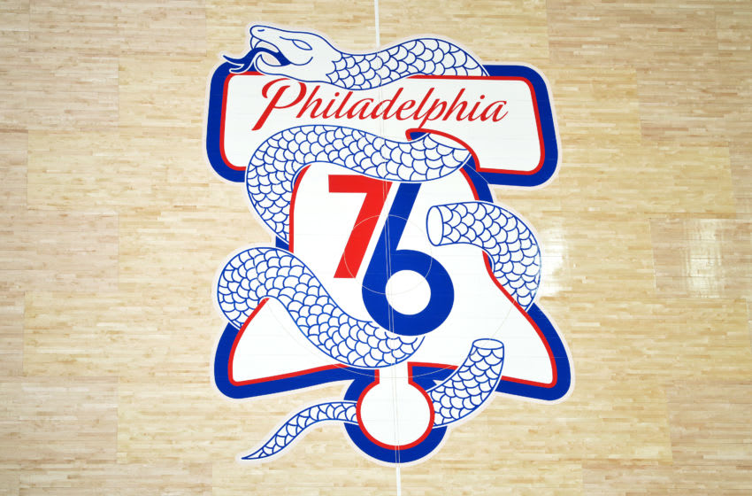 Philadelphia 76ers logo (Photo by Jesse D. Garrabrant/NBAE via Getty Images)