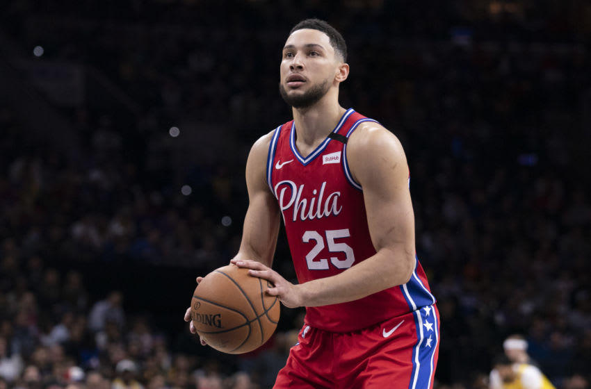 PHILADELPHIA, PA - JANUARY 25: Ben Simmons #25 of the Philadelphia 76ers shoots a foul shot against the Los Angeles Lakers at the Wells Fargo Center on January 25, 2020 in Philadelphia, Pennsylvania. NOTE TO USER: User expressly acknowledges and agrees that, by downloading and/or using this photograph, user is consenting to the terms and conditions of the Getty Images License Agreement. (Photo by Mitchell Leff/Getty Images)