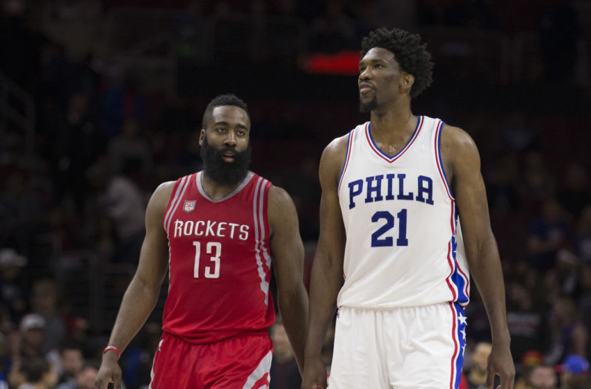 PHILADELPHIA, PA - JANUARY 27: James Harden #13 of the Houston Rockets talks to Joel Embiid #21 of the Philadelphia 76ers at the Wells Fargo Center on January 27, 2017 in Philadelphia, Pennsylvania. NOTE TO USER: User expressly acknowledges and agrees that, by downloading and or using this photograph, User is consenting to the terms and conditions of the Getty Images License Agreement. (Photo by Mitchell Leff/Getty Images)