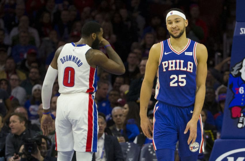 Phiadelphia 76ers Ben Simmons and Detroit Pistons Andre Drummond (Photo by Mitchell Leff/Getty Images)