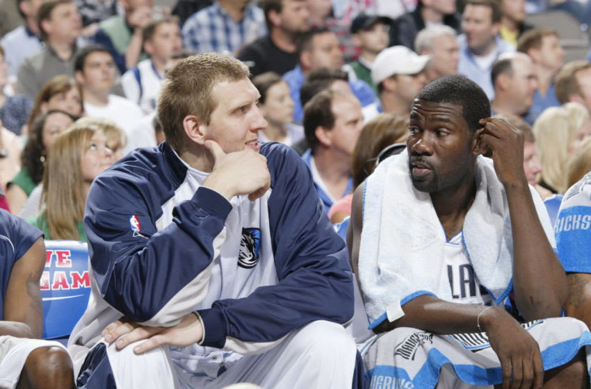 DALLAS - APRIL 7: Dirk Nowitzki #41 and Michael Finley #4 of the Dallas Mavericks. Copyright 2005 NBAE (Photo By Glenn James/NBAE via Getty Images)