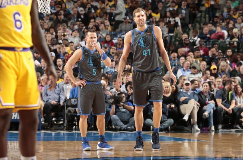 Dallas Mavericks J.J. Barea Dirk Nowitzki Copyright 2019 NBAE (Photo by Glenn James/NBAE via Getty Images)