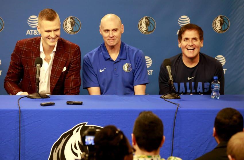 Dallas Mavericks Kristaps Porzingis,Rick Carlisle Copyright 2019 NBAE (Photo by Glenn James/NBAE via Getty Images)
