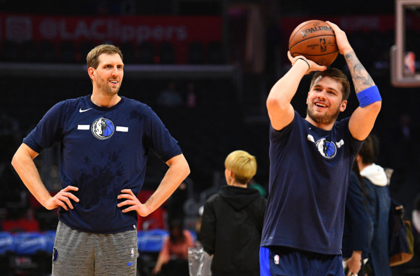 Dallas Mavericks Dirk Nowitzki Luka Doncic (Photo by Brian Rothmuller/Icon Sportswire via Getty Images)