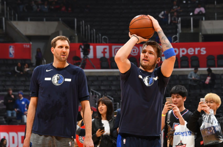 Dallas Mavericks Dirk Nowitzki Luka Doncic Copyright 2019 NBAE (Photo by Adam Pantozzi/NBAE via Getty Images)