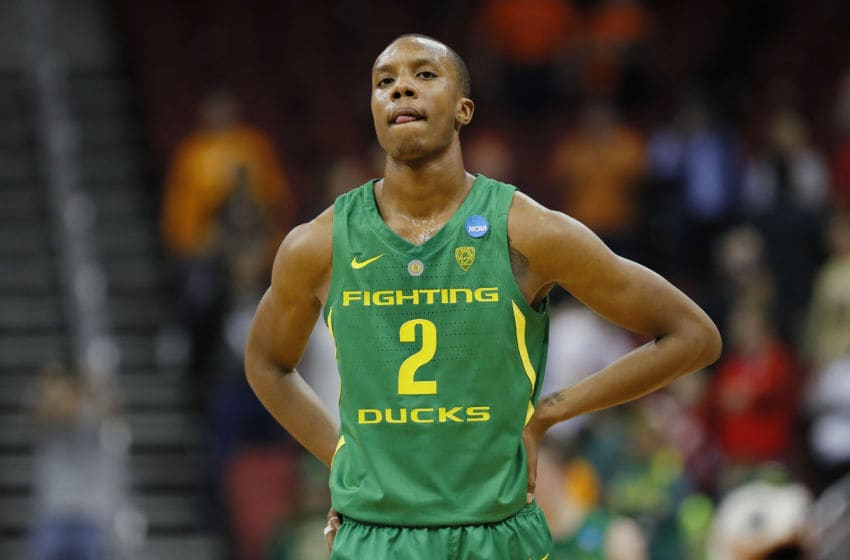 LOUISVILLE, KENTUCKY - MARCH 28: Louis King #2 of the Oregon Ducks reacts against the Virginia Cavaliers during the second half of the 2019 NCAA Men's Basketball Tournament South Regional at the KFC YUM! Center on March 28, 2019 in Louisville, Kentucky. (Photo by Kevin C. Cox/Getty Images)