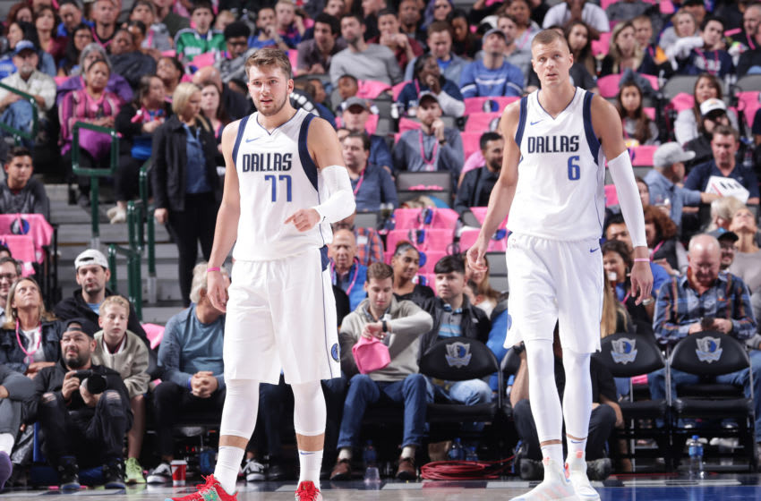 Dallas Mavericks Luka Doncic Kristaps Porzingis Copyright 2019 NBAE (Photo by Glenn James/NBAE via Getty Images)