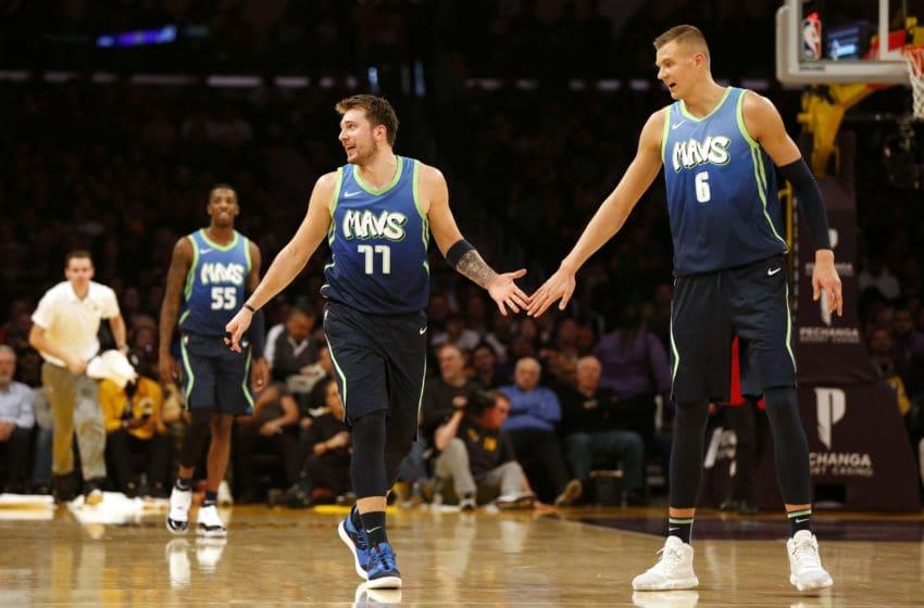 Dallas Mavericks Luka Doncic Kristaps Porzingis (Photo by Katharine Lotze/Getty Images)