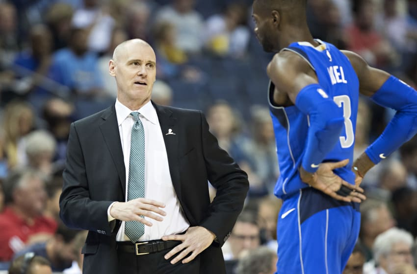 MEMPHIS, TN - OCTOBER 26: Head Coach Rick Carlisle talks with Nerlens Noel #3 of the Dallas Mavericks during a game against the Memphis Grizzlies at the FedEx Forum on October 26, 2017 in Memphis, Tennessee. NOTE TO USER: User expressly acknowledges and agrees that, by downloading and or using this photograph, User is consenting to the terms and conditions of the Getty Images License Agreement. The Grizzlies defeated the Mavericks 96-91. (Photo by Wesley Hitt/Getty Images)