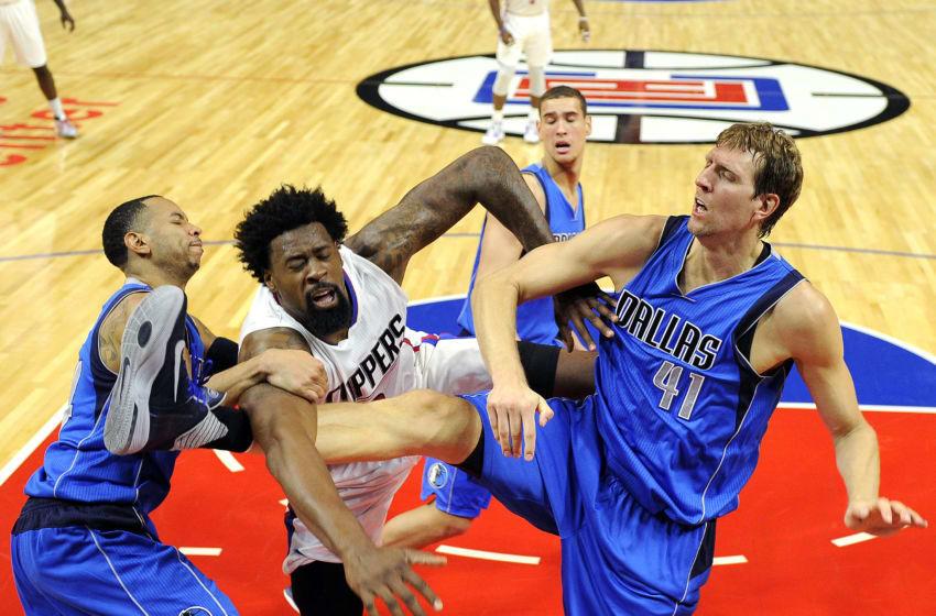Dallas Mavericks DeAndre Jordan Dirk Nowitzki (Photo by Kevork Djansezian/Getty Images)