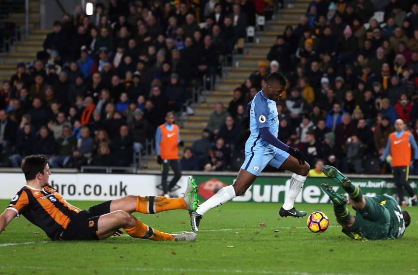 HULL, ENGLAND - DECEMBER 26: Kelechi Iheanacho of Manchester City scores his team's second goal during the Premier League match between Hull City and Manchester City at KCOM Stadium on December 26, 2016 in Hull, England. (Photo by Nigel Roddis/Getty Images)