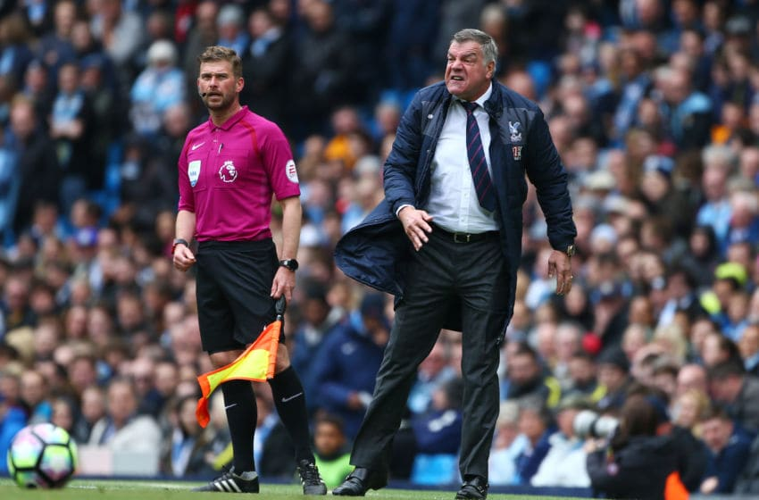 MANCHESTER, ENGLAND - MAY 06: Sam Allardyce, Manager of Crystal Palace reacts during the Premier League match between Manchester City and Crystal Palace at the Etihad Stadium on May 6, 2017 in Manchester, England. (Photo by Dave Thompson/Getty Images)