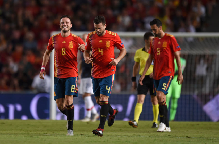 ELCHE, SPAIN - SEPTEMBER 11: Saul Niguez of Spain (8) celebrates after scoring his team's first goal alongside Nacho Fernandez of Spain (4) during the UEFA Nations League A Group four match between Spain and Croatia at Estadio Manuel Martinez Valero on September 11, 2018 in Elche, Spain. (Photo by Denis Doyle/Getty Images)