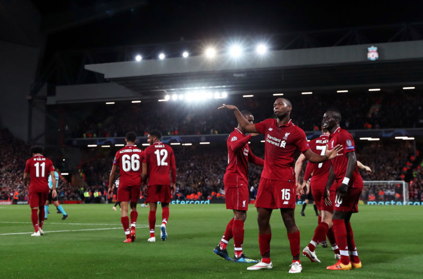 LIVERPOOL, ENGLAND - SEPTEMBER 18: Daniel Sturridge of Liverpool celebrates after scoring his team's first goal during the Group C match of the UEFA Champions League between Liverpool and Paris Saint-Germain at Anfield on September 18, 2018 in Liverpool, United Kingdom. (Photo by Julian Finney/Getty Images)