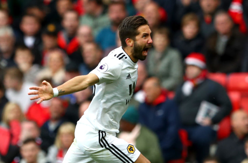 MANCHESTER, ENGLAND - SEPTEMBER 22: Joao Moutinho of Wolverhampton Wanderers celebrates after scoring his team's first goal during the Premier League match between Manchester United and Wolverhampton Wanderers at Old Trafford on September 22, 2018 in Manchester, United Kingdom. (Photo by Matthew Lewis/Getty Images)