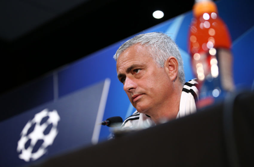MANCHESTER, ENGLAND - OCTOBER 22: Jose Mourinho, Manager of Manchester United looks on during a press conference ahead of their UEFA Champions League Group H match against Juventus at Aon Training Complex on October 22, 2018 in Manchester, England. (Photo by Jan Kruger/Getty Images)
