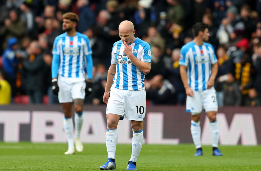 WATFORD, ENGLAND - OCTOBER 27: Aaron Mooy of Huddersfield Town looks dejected after his team concede during the Premier League match between Watford FC and Huddersfield Town at Vicarage Road on October 27, 2018 in Watford, United Kingdom. (Photo by Catherine Ivill/Getty Images)